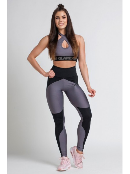 Женские лосины Gym Glamour JULIA BLACK & GREY